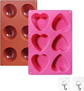Silicone Chocolate Moulds,Heart And Semi Shaped Chocolate Mold Set, Chocolate Molds Silicone For Candy jello Pudding Bakin...