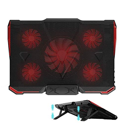Laptop Cooling Pad - Adjustable Stands Ultra-Portable Light Weight with 5 Fans and 2 USB Ports, Red LED, Suitable for 12-17 Inches Laptop