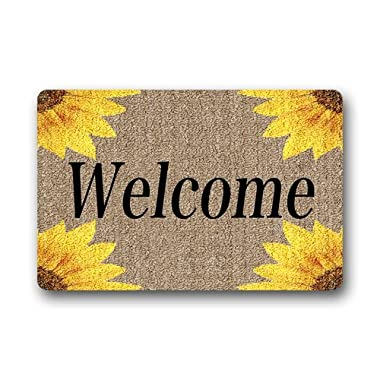 Machine-washable Door Mat Sunflowers Indoor/Outdoor Decor Rug Doormat 30(L) x 18(W) Inch