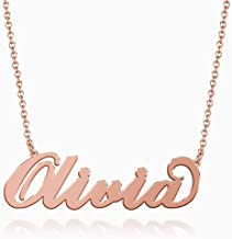 SOUFEEL Olivia Name Necklaces Pendant Stainless Steel Rose Gold Custom Necklace Personalized Nameplate Gifts for Women Girls