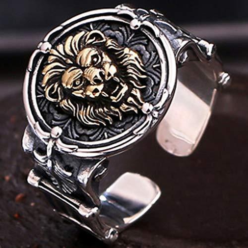 XIRENZHANG S925 Anillo de Plata esterlina Vintage de Plata a Mano de Plata a Mano de león Tridimensional del león de la Cabeza de la Cabeza del Anillo de Moda de los Hombres