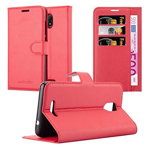 Cadorabo Hülle für WIKO Jerry 3 - Hülle in Karmin ROT - Handyhülle mit Kartenfach & Standfunktion - Case Cover Schutzhülle Etui Tasche Book Klapp Style