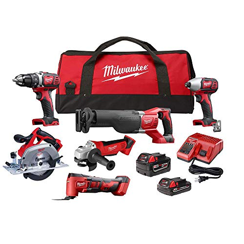 Milwaukee M18 18-Volt Lithium-Ion Cordless Combo Kit (6-Tool) with Two Batteries, Charger and Two Tool Bags