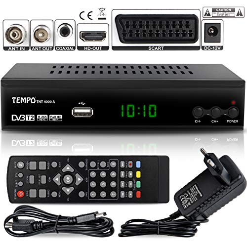 Tempo 4000 Decodificador Digital Terrestre – DVB T2 / HDMI Full HD / Canales...