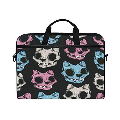 Scary Cat Sugar Skull Pattern 14 Inch Laptop Case Shoulder Bag Crossbody Briefcase With Shoulder Strap Handle