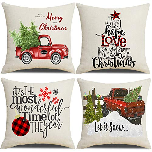 Lanpn Christmas 18x18 Throw Pillow Covers, Decorative Outdoor Farmhouse Merry Christmas Xmas Pillow Shams Cases Slipcovers Cover Set of 4 Couch Sofa