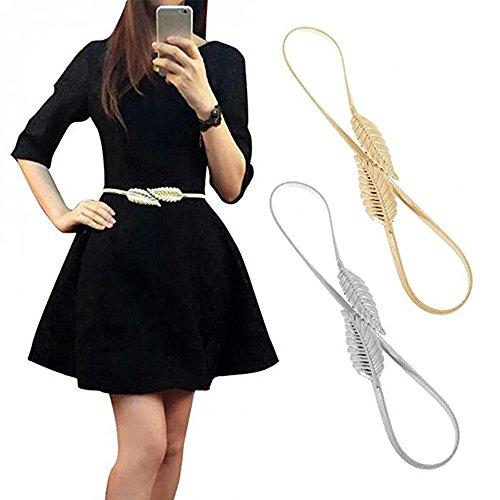VITORIA'S GIFT Vintage Womens Waist Belt Elastic Belt Stretch Waist Strap Cummerbund Leaf Design Clasp Stretch Waist Belt, Silver&golden Tone(plus), Medium