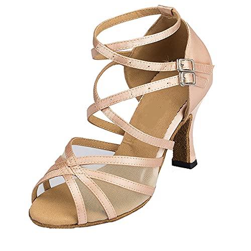 Correas dobles para mujer latina salsa baile zapatos punta abierta salón fiesta...