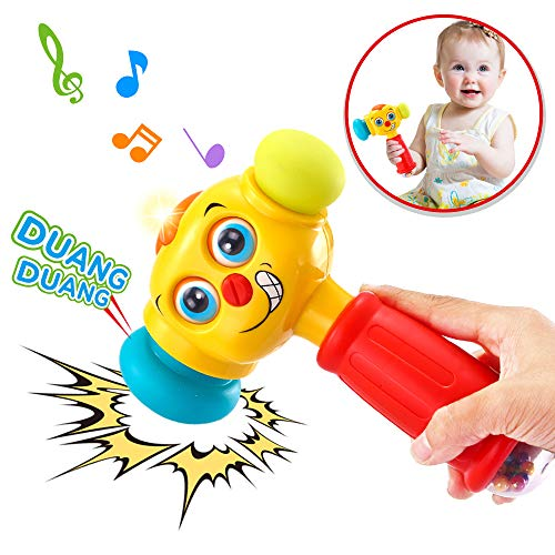 VATOS Baby Toys Boy Toys Light& Musical Baby Hammer Toy for 12 to 18 Months up | Infant Toys Funny Changeable Eyes Baby Hammer Toddler Toys for 1 Year Old + | 12 Months +