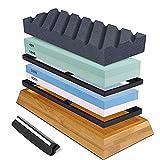 Knife Sharpening Stone Kit, Premium Whetstone Sharpener Stone Set Premium 4 Side Grit 400/1000 3000/8000 Water Stone Includes Flattening Stone, Bamboo Base, and 2 Nonslip Rubber Bases