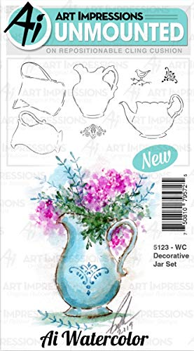Art Impressions Watercolor Cling Rubber Stamps-Decorative Jar