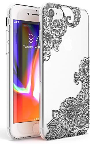 hennè Nero Slim Cover per iPhone 7 Plus TPU Protettivo Phone Leggero con Astratto Modelli Pizzo Tatoo Mandala