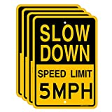 Joffreg Slow Down Speed Limit 5 MPH Sign,17 x12 Inches,Reflective Aluminum (4 Pack)