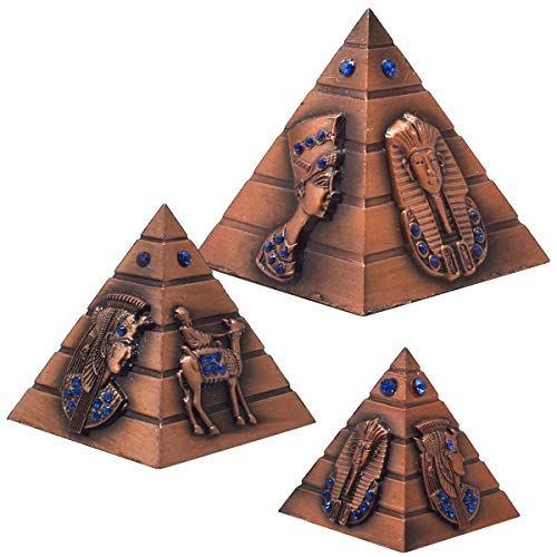 Pirámide Egipcia de Metal Estatua,Guador 3 Piezas Pirámide de Bronce Modelo Estatuilla de La Pirámide Estatua de Arte Antiguo Modelo de Construcción Escritorio Ornamento Regalo de Recuerdo