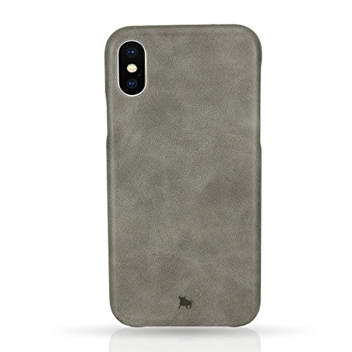 BULLAZO Menor Classic, Hochwertige Hülle aus Leder, Kompatibel mit iPhone X 10 XS 10S, Grau