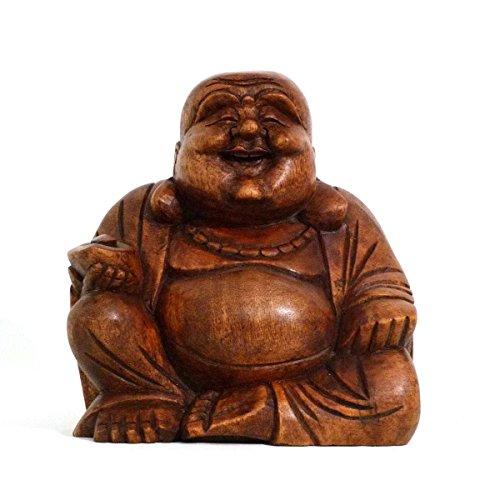 Simandra Happy Buddha Holz Figur Skulptur Abstrakt Holzfigur Statue Afrika Asia Glücksbringer Handarbeit Deko Größe 11 cm