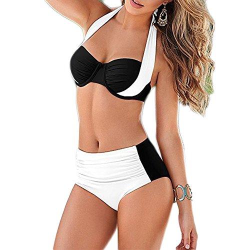 Missyhot Damen Zweiteiliges Bademode Bandeau Schwimmenanzug Zweifarbig Tankini Vintage Bikini Set Neckholder Badeanzug Hohe Taille (S, Weiss)