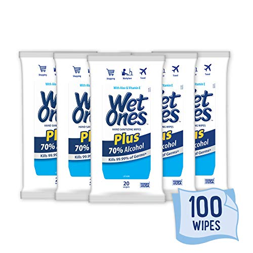 Wet Ones Plus 70% Alcohol Hand Sanitizer Wipes, 20 Count (Pack of 5)