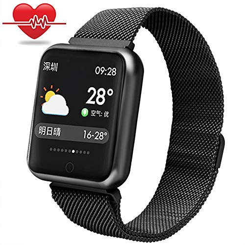 Bchance Fitness Tracker for Women, Blood Pressure Monitor Smart Bracelet Steel Band with Heart Rate Monitor Sleep Monitor Pedometer Call/SMS Reminder Wristband for Samsung Android iOS -Black