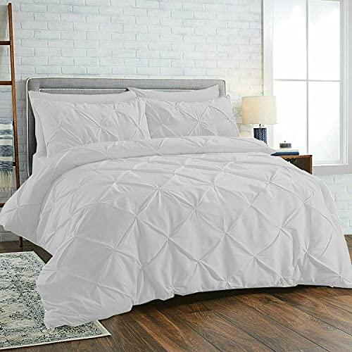 Juego de funda de edredón plisada con fundas de almohada, 100% algodón, juego de cama individual, doble, king y superking (blanco, super king)