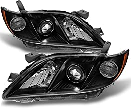 For 2007-2009 Toyota Camry Black Bezel Projector Headlights Front Lamps Replacement Left+Right Pair