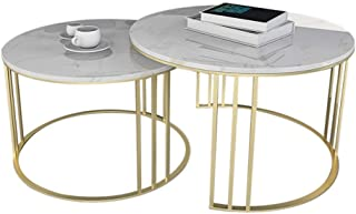 Lcxliga Coffee Table Stackable Set of 2 Side Tables for Living Room   Round Occasional Coffee & Nesting End Tables   Metal...