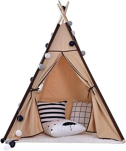 Maybesky Handgefertigtes Miniatur-Set Tipi-Zelt für Kinder, faltbares Spielhaus, Klassische indische Perücke mit Fenstern für drinnen und Draußen, Geschenk für Jungen und mädchen (156cm hoch) braun
