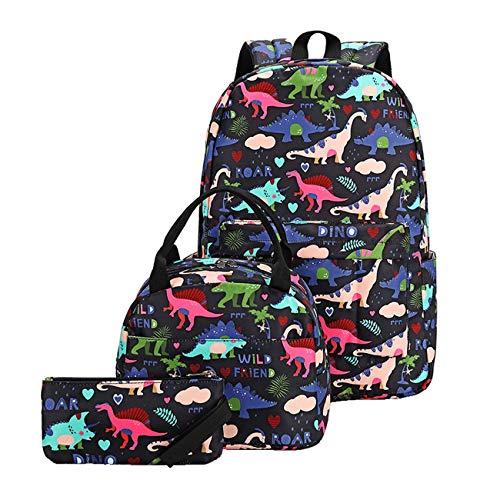 Acmebon Juego de Mochilas para niños Mochila Escolar con Dibujos Bonitos para niños y niñas Dinosaurio Negro
