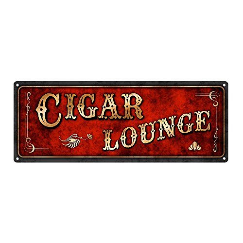 "Homebody Accents Red Cigar Lounge Metal Sign, 6""x16, Art Deco, Vintage, Retro, Game Room, Den, Wall Décor"