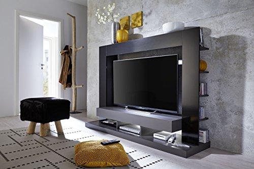 trendteam 1561-001-31 Mediawohnwand Schwarz Glanz, Korpus Grau, BxHxT 164x124x46 cm - 3