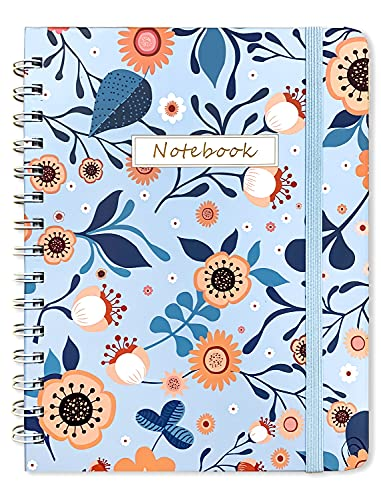 """Spiral Notebook/Journal ,Ruled Notebook/Journal,Premium Thick Paper120g,hardcover notebook with Strong Twin-Wire Binding ,Inner Pocket ,size 8.26""""x 6.34"""", Perfect for School, Office & Home"""