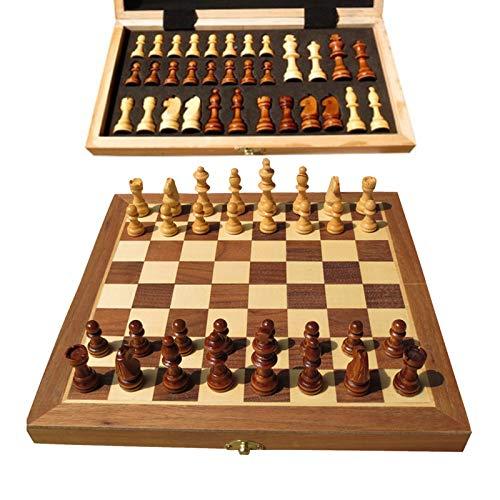 HUAXUN Schachspiel Aus Holz,tragbarer Folding-Innenraum-Travel-Schach-Spiel-Brett Für Kinder High-End-Geburtstagsgeschenk 40x40cm