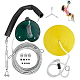 DILIMI Zipline Kits for Kids 65 FT Backyard Zip Line Set with Adjustable Seat, Non-Slip Handles, Holds Up to 400 Lbs