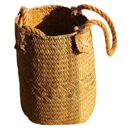 QZH Wicker Aufbewahrungskorb, Natur Pflanzer Korb Bauch Körbe Picknick Lebensmittel Spielzeug Aufbewahrungsbehälter Pflanzenhalter Desktop-Dekoration, Gelb