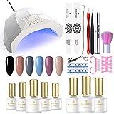 BORN PRETTY - Set de iniciación de esmalte de uñas UV con lámpara UV LED de 48 W, base de lámpara de 48 W, 6 geles, juego de uñas portátil para regalo de viaje
