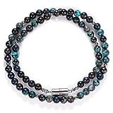Perline di crisocolla naturali, splendida collana di crisocolla rotonda da 18'liscia da 7 mm, autentica collana di crisocolla con chiusura magnetica d'argento