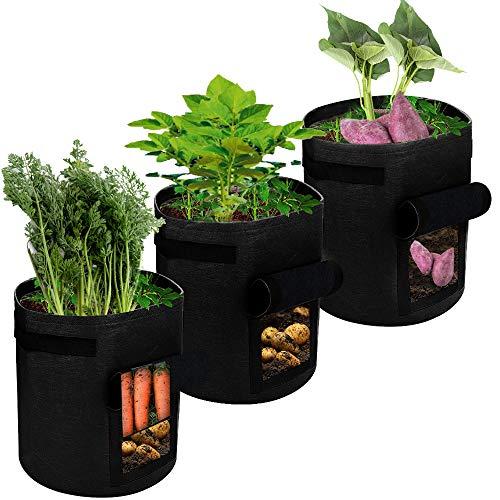 SUPTEMPO Pflanztasche, Kartoffel Pflanzsack Atmungsaktiv Pflanzbeutel mit Fenster, Tragegriffen, 3er Pack