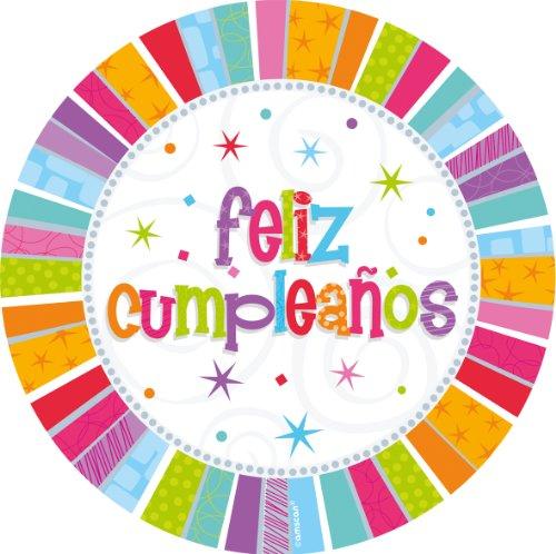 8 Pappteller Radiant Birthday - Herzlichen Glückwunsch auf Spanisch: feliz cumpleanos ca. 23 cm