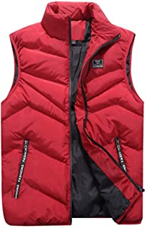 LOPILY Men's Winter Gilet Vest Full Zip Solid Color Sleeveless Coats Thick Warm Quilted Coat Down Jacket Gilet Haori