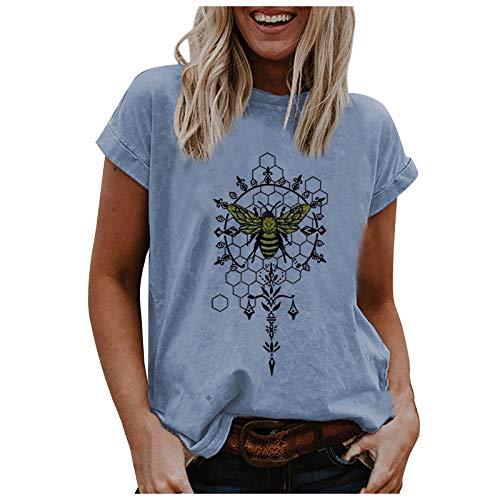 Camiseta de manga corta para mujer, sexy, informal, para verano, divertida, con estampado animal, de manga corta, con estampado 3D B-azul. L
