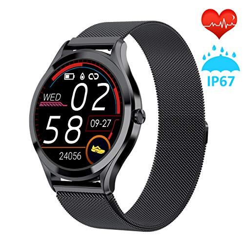 Smartwatch für Damen 1.3 Voller Touch Screen Fitness Uhr IP67 Wasserdicht Fitness Tracker Sportuhr mit Schrittzähler Pulsuhren Stoppuhr für iOS Android Handy(Schwarz)