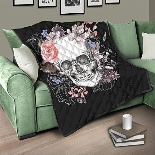 Flowerhome Totenkopf Blumen Steppdecke Tagesdecke Bettdecke Bettüberwurf Sofadecke Couchdecke Schlafdecke Überwurfdecke für Sofa Couch Bett White 150x200cm