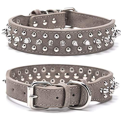 Verstellbares Hundehalsband mit Nieten, Mikrofaser-Leder Spiked Welpenhalsband, Anti-Bite Pet Halsband für kleine, mittelgroße und große Hunde Katzen, Grau M