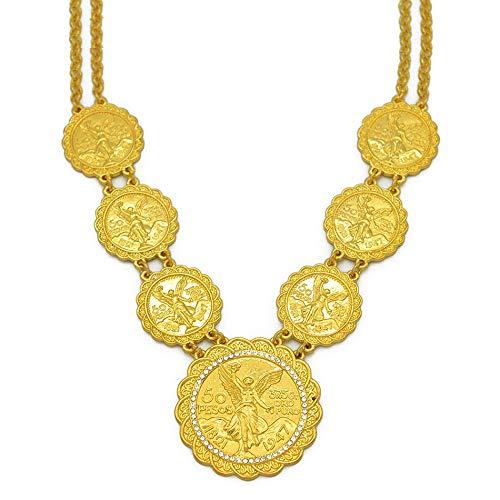 VAWAA Oro Color Moneda joyería Collares Largos México Moneda Boda Regalo de joyería Africana