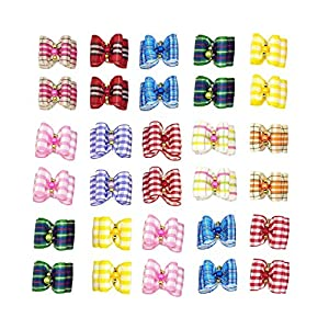 PET SHOW Plaid Dog Hair Bows with Rubber Bands Pet Topknot Puppy Headdress Grooming Hair Accessories Pack of 10pairs