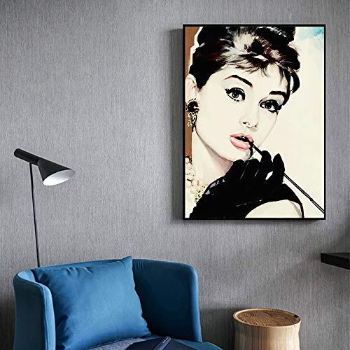 KWzEQ Leinwanddrucke Berühmte Filmstar Wandbild Hauptdekoration für Schlafzimmer Wohnzimmer Poster60x75cmRahmenlose Malerei