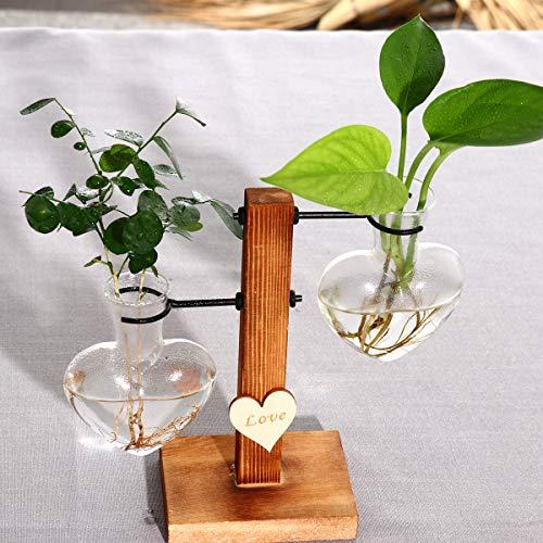 Futaikang Glas-Blumentopf, Tischlampe, Vase mit Holzbank, Vintage-Hydrokultur-Pflanze, Reagenzglas-Halter, Blumenvase, Tischvase, Heim- und Gartendekoration, 1 Stück, L0VE hydroponic double bottle