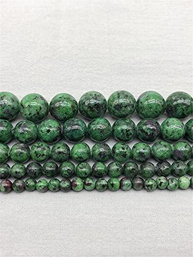 Cuentas espaciadoras sueltas redondas de piedra natural para hacer joyas, accesorios de 4 a 12 mm, pulseras de abalorios de color verde 6 mm aprox. 63 cuentas