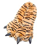 Millffy Funny Slippers Grizzly Bear Stuffed Animal Furry Claw Paw Slippers Toddlers, Kids & Adults Costume Footwear (Small - (Little Kids), Bengal Tiger)