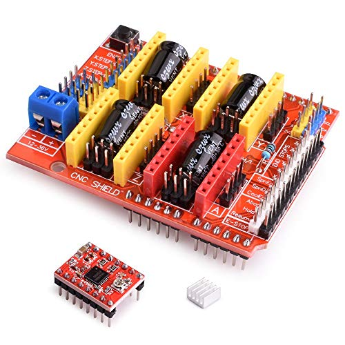 kuman CNC Shield Expansion Board V3.0 +UNO R3 Board + A4988 Stepper Motor Driver with Heatsink for Arduino Kits K75 (CNC Shield+UNO R3+Stepper Motor) (K75-CNC-UK), Red Blue
